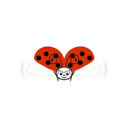 Ladybird in sky sign. Ladybug in blue heaven. Illustration cute colorful red insect symbol spring, summer, garden. Template for t shirt, apparel, card, poster. Design element. Vector illustration Archivio Fotografico - 141466764