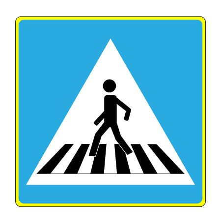Crosswalk sign black on white triangle. Icon a pedestrian place for child near school. Symbol safety traffic human on road. Label for banner about crossing way. Design element. Vector illustration Stock Illustratie