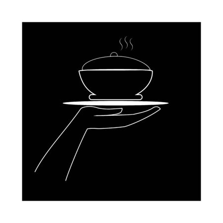 Icon for cafe Thin flat linear silhouette in square with inscription CAFE on white background Designation for restaurant icon cafe, to banner, signboard. Monochrome design element Vector illustration Ilustração