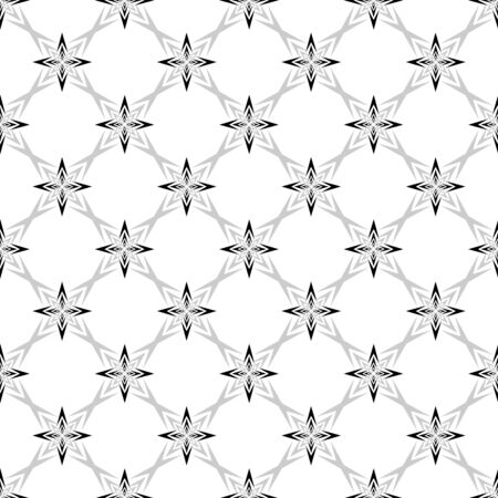 Geometric ornamental with square of arrows seamless pattern. Abstract background design. Modern stylish texture. Monochrome template for prints, textiles, wrapping, wallpaper. Vector illustration Vettoriali