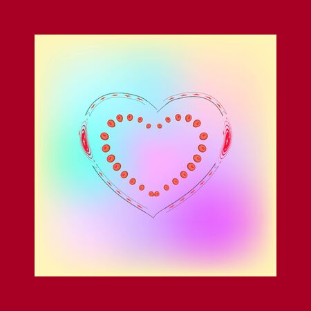 Decorative heart in colorful square. Romantic symbol linked, join, love, passion and wedding. Template for t shirt, apparel, card, poster. Design element of valentine day. Vector illustration