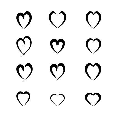 Heart black set on white background sign. Symbol love. Template for t shirt, apparel, card, poster, valentine day. Design element. Vector illustration