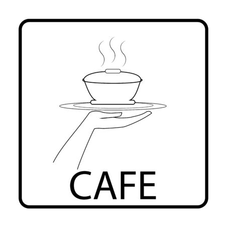 icon for cafe Thin flat linear silhouette in square with inscription CAFE on white background Designation for restaurant icon cafe, to banner, signboard. Monochrome design element Vector illustration
