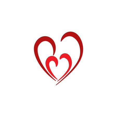 Heart two color sign on white background. Romantic symbol love, passion and wedding. Template for t shirt, apparel, card, poster. Design element of valentine day. Vector illustration Vettoriali