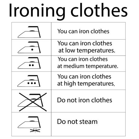 Clothing care. You can iron clothes. Label for information instruction. Warning oh safe ironing garment. Set signs for business, manufacturing and laundry, etc. Vector illustration.