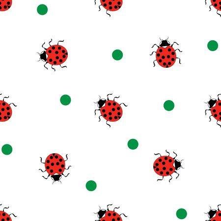 Ladybug and polka eamless pattern. Fashion graphic background design. Modern stylish abstract texture. Colorful template for prints, textiles, wrapping, wallpaper, website, etc. Vector illustration