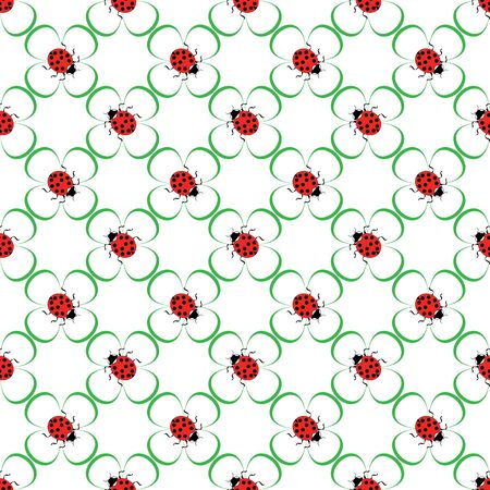 Ladybug on green flower seamless pattern. Fashion graphic background design. Modern stylish abstract texture. Colorful template for prints, textiles, wrapping, wallpaper, website. Vector illustration