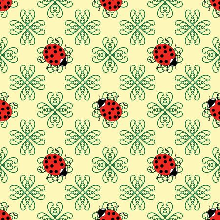 Ladybug on flower abstract seamless. Fashion graphic background design. Modern stylish abstract texture. Colorful template for prints, textiles, wrapping, wallpaper, website, etc. Vector illustration