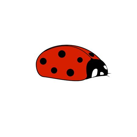 Ladybird red icon. Illustration ladybug in olive square. Cute colorful sign insect symbol spring, summer, garden. Template for t shirt, apparel, card, poster. Design element. Vector illustration