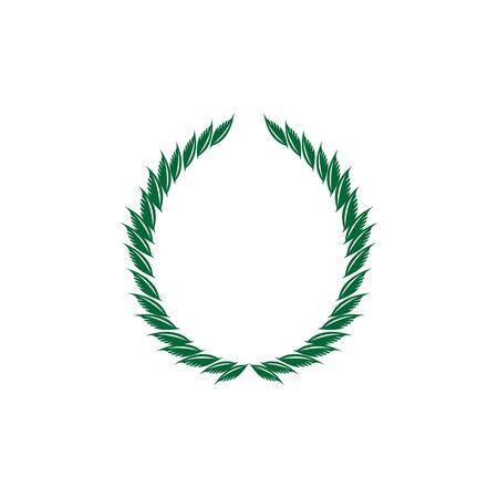 Laurel wreath olive reward. Modern symbol of victory and award achievement champion. Leaf ceremony awarding of winner tournament. Colorful template for badge, tag. Design element. Vector illustration