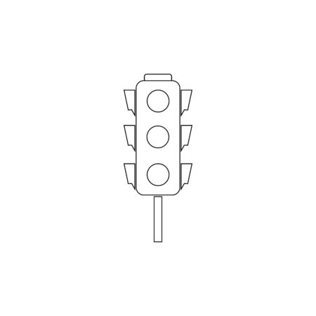 Stoplight silhouette. Icon traffic light on white background. Symbol regulate movement safety and warning. Electricity semaphore for transportation on crossroads urban road. Flat vector illustration
