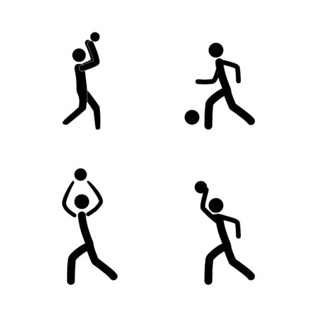 Sports. Basketball player, football set silhouette. Sign sports team, professional sport.