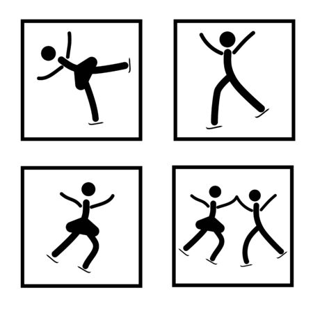 Sports. Figure skating set icon. Silhouette figures skate. Logo professional sports dance on ice. Monochrome template for poster, icon. Design element. Vector illustration