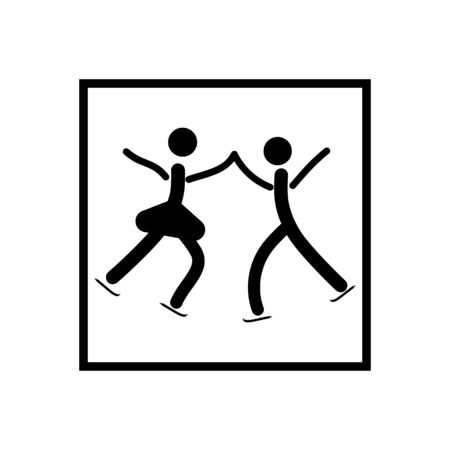 Sports. Pair figure skating icon. Two silhouette skate. icon sports dance on ice.