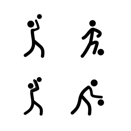 Sports. Basketball player, football set silhouette. Sign sports team, professional sport. icon play with ball, motion. Monochrome template for poster. Design element. Vector illustration
