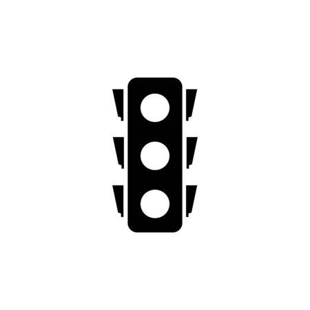 Stoplight silhouette. Icon traffic light on white background. Symbol movement safety and warning. Electrical semaphore for regulate transportation on crossroads urban road. Flat vector illustration
