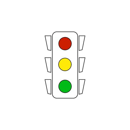 Stoplight silhouette. Icon traffic light on white background. Symbol regulate movement safety and warning. Electrical semaphore for transportation on crossroads urban road. Flat vector illustration