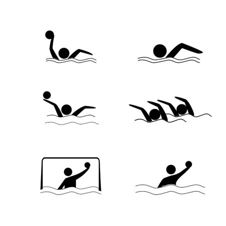 Water sports. Water polo set icon. Silhouette emblem of water polo. Logo professional sports in water. Çizim