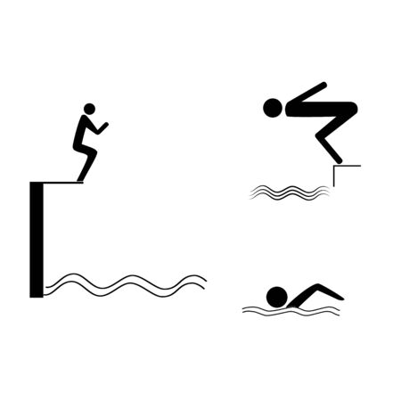 Sports. Place for jumping in water. Safety dive. Sign safeness on pool, beach, in river, sea. Warning of protection during jump in. Monochrome template for poster. Design element. Vector illustration Çizim