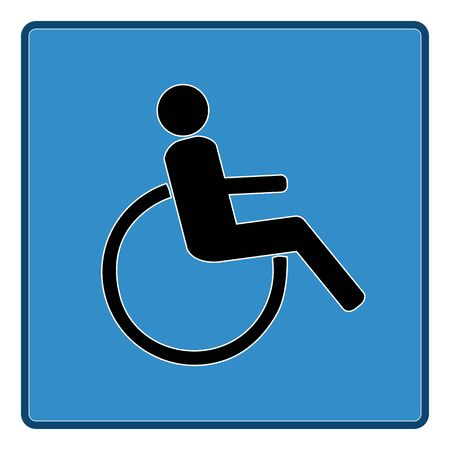 Disabled sign in blue square. Mark disability. Icon a place open passage. Symbol paralyzed and human on wheelchair. Safety person warning handicapped illustration. Design element. Vector illustration