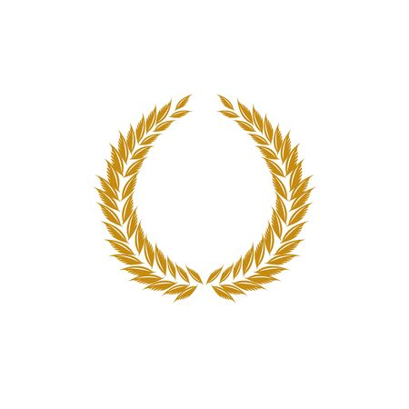 Laurel wreath gold reward. Modern symbol of victory and award achievement champion. Leaf ceremony awarding of winner tournament. Colorful template for badge, tag. Design element. Vector illustration