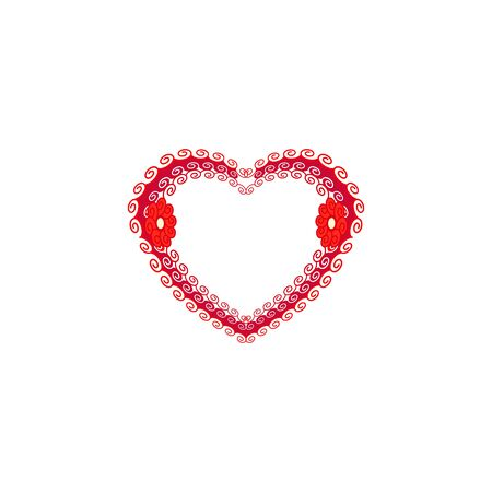 Decorative heart on white background. Romantic symbol linked, join, love, passion and wedding. Template for t shirt, apparel, card, poster. Design element of valentine day. Vector illustration