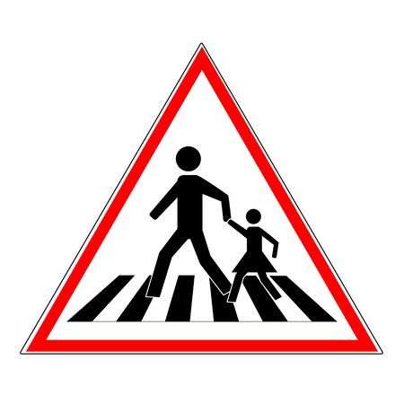 Crosswalk sign black in red triangle. Icon a pedestrian place for child near school. Symbol safety traffic human on road. Label for banner about crossing way. Design element. Vector illustration