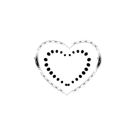 Decorative black heart on white background. Romantic symbol love, passion and wedding. Template for t shirt, apparel, card, poster. Design element of valentine day. Vector illustration Çizim