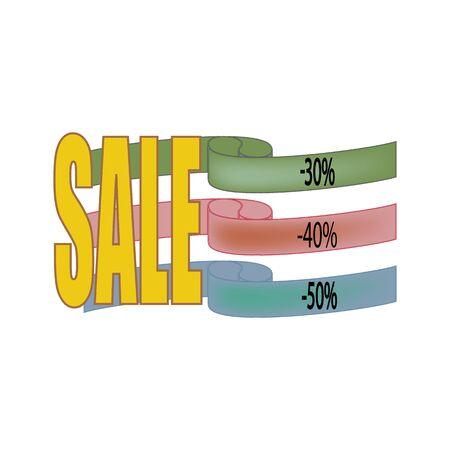 Big SALE banner. Large banner for advertising. Colorful red ribbonon white rectangle. Offer discount on sale on market. Selling offer. Big banner for advertising. Design element. Vector illustration Çizim