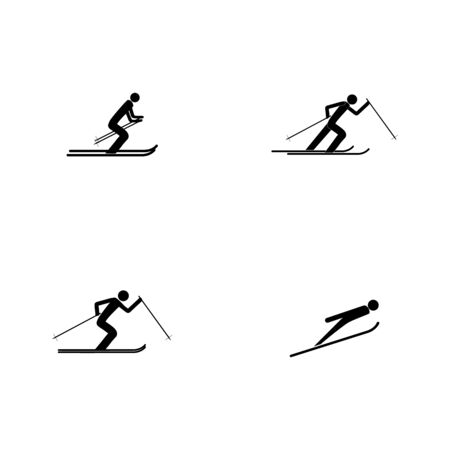 Sports skiing. Place for safety jumping. Sign security in descent, slope, snow for at international games. Template for poster, banner. Design element. Vector illustration