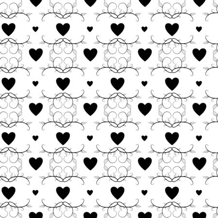 Heart ornamental seamless pattern. Abstract background design. Modern stylish abstract texture. Monochrome template for prints, textiles, wrapping, wallpaper, website, etc. Vector illustration Vettoriali