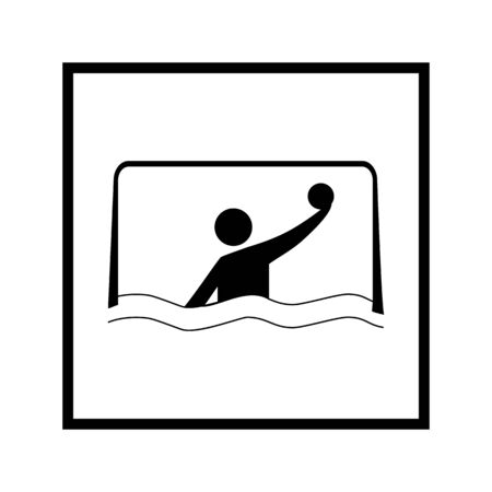Water sports. Water polo icon. Silhouette emblem of water polo. Logo professional sports in water. Vettoriali
