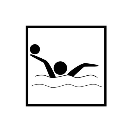 Water sports. Water polo icon. Silhouette emblem of water polo. Logo professional sports in water.Monochrome template for poster, icon, ets. Design element. Vector illustration