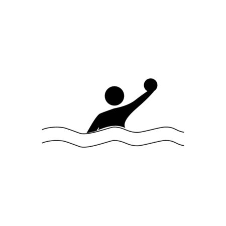 Water sports. Water polo set icon. Silhouette emblem of water polo. Logo professional sports in water. Monochrome template for poster,   ets. Design element. Vector illustration