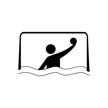 Water sports. Water polo icon. Silhouette emblem of water polo. Logo professional sports in water. Monochrome template for poster, icon, ets. Design element. Vector illustration