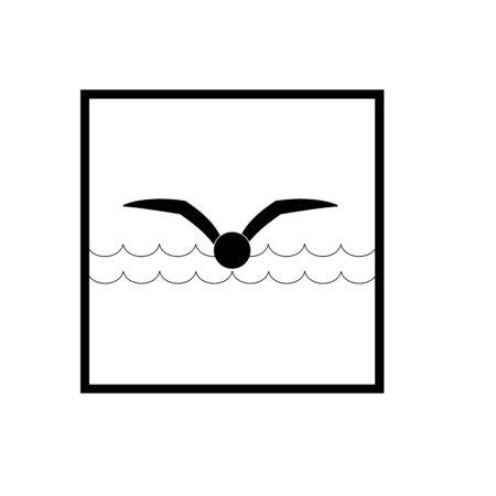 Sports. Sign place for swiming in water. Safety swim. Sign safeness on pool, beach, in river, sea. Protection during jump in. Monochrome template for poster. Design element. Vector illustration