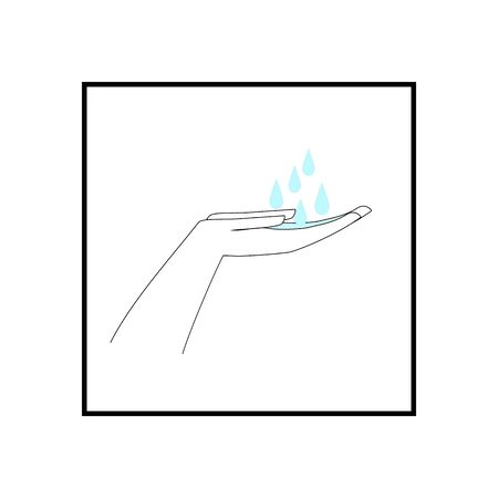 Wash your hands often soapy water. Clean hands icon. Symbol of safety for health and protection against coronavirus. For banner, flyer, warning, etc. Design element. Vector illustration Vettoriali