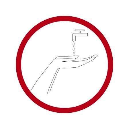 Warning. Covid-19. Wash your hands often soapy water. Clean hands icon. Symbol of safety for health and protection against coronavirus. For banner, flyer, warning. Design element. Vector illustration