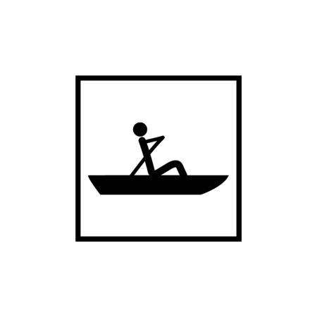 Water sport. Water rowing icon. extreme sport and recreation in water. Monochrome template for poster,  ets. Design element. Vector illustration Çizim
