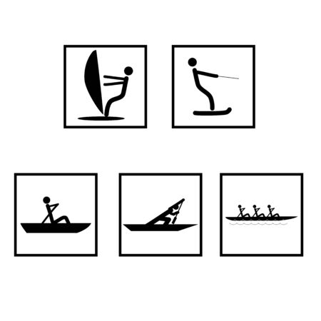 Water sports set icons. extreme sports and recreation in water. Monochrome template for poster,  ets. Design element. Vector illustration Çizim