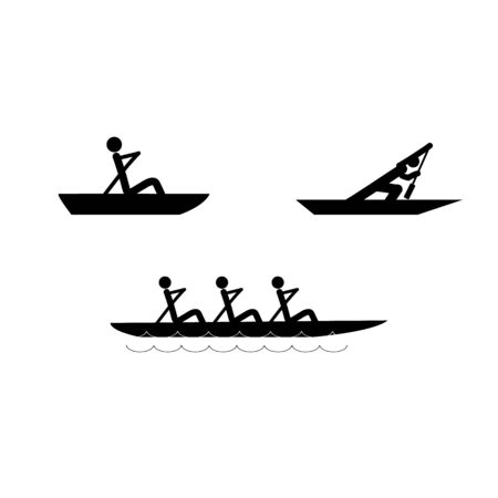 Water sports icons. Water rowing set. extreme sports and recreation in water. Monochrome template for poster, ets. Design element. Vector illustration