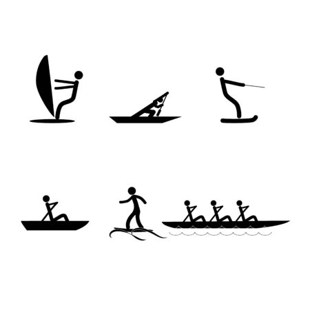 Water sports icons. extreme sports and recreation in water. Monochrome template for poster, ets. Design element. Vector illustration