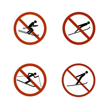 No jumping set icons. Dangerous leap. Sign danger in descent, slope, snow. Warning of avalanche danger during jump in. Monochrome template for poster, banner. Design element Vector illustration