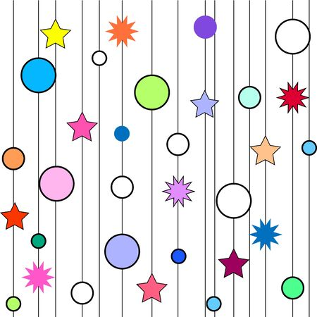 Star, circle on line seamless pattern. Fashion graphic background. Modern stylish abstract texture. Colorful template for prints, textiles, wrapping, wallpaper etc. Design element. Vector illustration