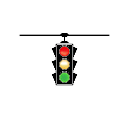 Stoplight sign. Icon traffic light on white background. Symbol regulate movement safety and warning. Electricity semaphore regulate transportation on crossroads urban road. Flat vector illustration