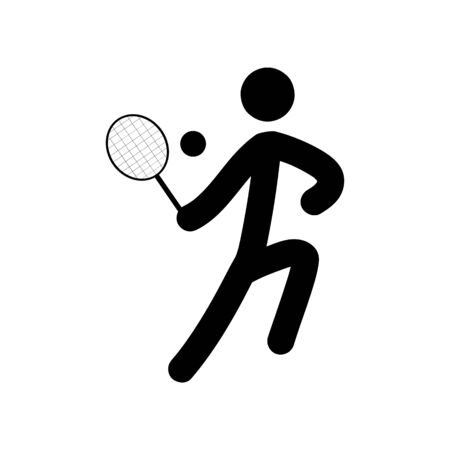 Sports. Tennis icon. Silhouette emblem tournament. Logo professional sports, active recreation and leisure. Çizim