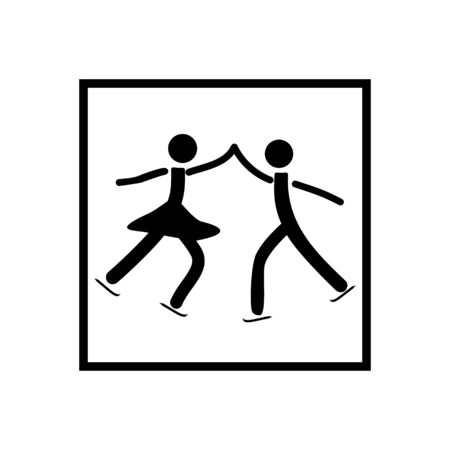 Sports. Figure Skating. Two silhouette skate. sports dance on ice. Monochrome template for poster . Design element. Vector illustration Çizim