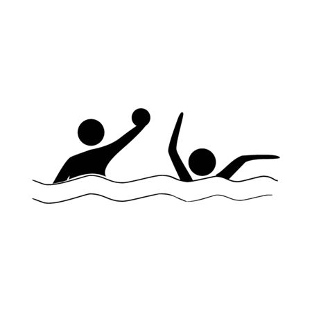 Water sports. Water polo icon. Silhouette emblem of water polo. Çizim