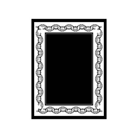 Frame with wavy line. Fashion graphic background design. Modern stylish abstract texture. Monochrome template for prints, textiles, wrapping, wallpaper, website. Design element. Vector illustration