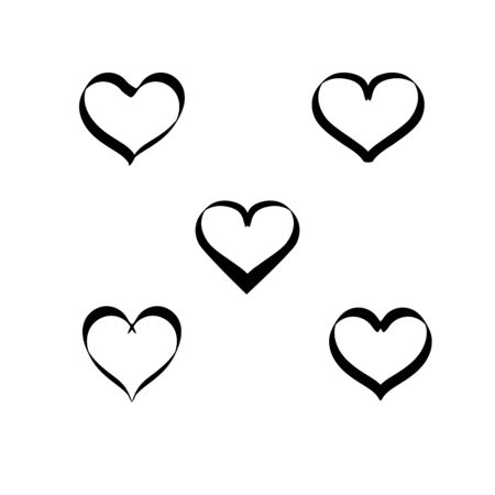 Hearts black on white background set. Symbol linked, join, love, passion and wedding. Template for t shirt, apparel, card, poster, valentine day, etc. Design element. Vector illustration